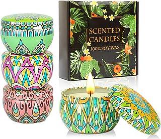KAVAVO Coffret cadeau bougies parfumées,4 Paquet 2.5 Oz bougies parfumées, bougies,bougie en cire de soja soulagement du s...