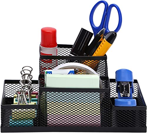 MeRaYo Metal Mesh Desktop Organizer Pen and Pencil Stationery Storage Holder for Home and Office Supplies (4 Compartm...