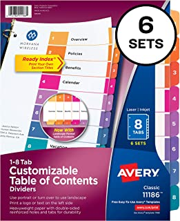 Avery 8-Tab Dividers for 3 Ring Binders, Customizable Table of Contents, Multicolor Tabs, 6 Sets (11186)