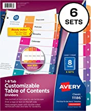 Avery Ready Index 8-Tab Binder Dividers, Customizable Table of Contents, Multicolor Tabs, 6 Sets (11186)