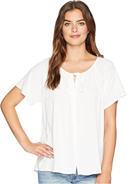 Michael Stars Rylie Rayon Button Up Peasant Top