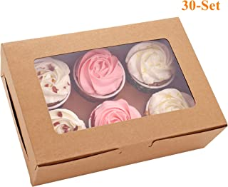 30-Set Cupcake Boxes with Inserts and Window Hold 6 Cupcakes, 9.4'' x 6.3'' x 3'', Brown Food Grade Kraft Cupcake Holder for Cookies, Muffins, Bakeries