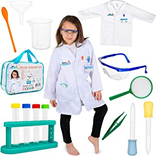 Born Toys 15 Piece Lab Coat for Kids Witch Science kit and lab Goggles Full Scientist Costume for Kids Ages 5-10 for Real Kids Scientist Experiments (Premium Scientist Deluxe Ages 5-9)