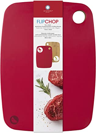 """Architec FC15R FlipChop Reversible, Bamboo and Plastic Cutting Board 11"""" by 15"""" Red"""