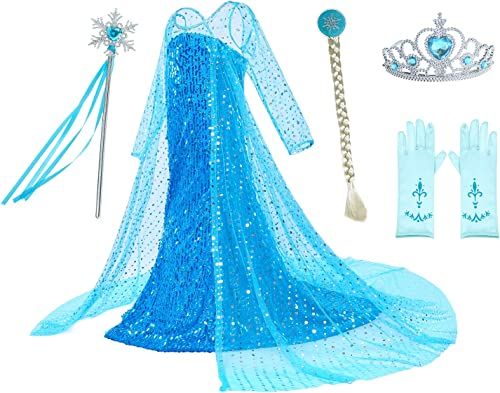 Luxury Princess Dress Costumes with Shining Long Cape Girls Birthday Party 2-10 Years