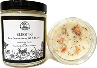 Blessing Affirmation Candle: 8 oz Natural Soy with Sunstone Crystals, Herbs & Essential Oils for Prosperity, Peace, Good Fortune, Well-Being & Spirituality for Wiccan, Pagan & Magick Rituals