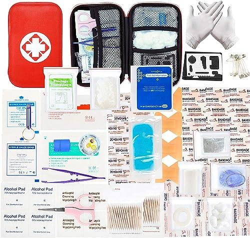 MOKIU 234pcs Trousse de Premier Secours Trousse de Secours Complete médical Boîte de d'urgence de Survie Extérieur po...