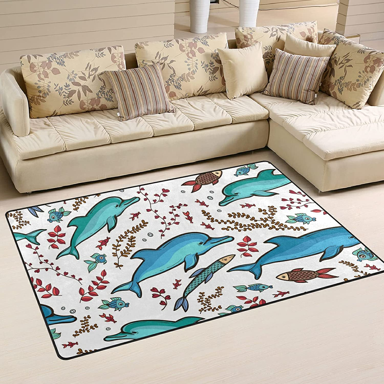 Dolphin Fish Pattern Max 71% OFF Large Soft Area Rug Rugs Max 55% OFF Nursery Ma Playmat