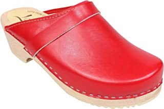Swedish Clogs : Classic Clog in Red Leather