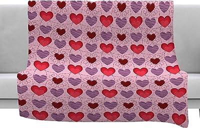 80 x 60 Fleece Blanket Kess InHouse Pia Schneider Melange of Circles III Pink Purple Throw