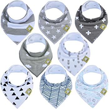 Baby Bandana Drool Bibs - Bandana Bibs for Boys, Girls by KeaBabies- Super Absorbent Bandana Drool Bibs - Teething Bibs - Organic Cotton Baby Bibs for Infant, Toddler - 8 Pack Bibs Set (Grayscape)