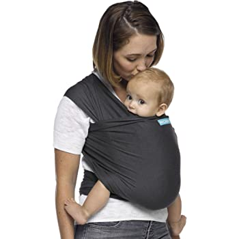 Moby Wrap Baby Carrier | Evolution | Baby Wrap Carrier for Newborns & Infants | #1 Baby Wrap | Baby Gift | Keeps Baby Safe & Secure | Adjustable for All Body Types | Perfect for Mom & Dad | Charcoal