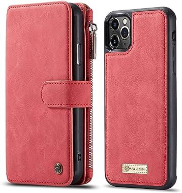 BeyeX iPhone7 & iPhone8 Flip Case Leather Cover Mobile Phone case Premium Business Kickstand Card Holders Fourteen Card Slot Anti Fall Zipper Bag Detachable (Detachable red)