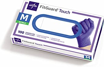 Medline FitGuard Touch Nitrile, Latex Free, Powder Free, Exam Gloves, Blue, Medium (100 Count)