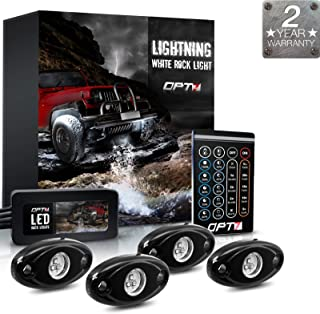 OPT7 4pc Lighting White LED Rock Lights w/Remote - Intense White ONLY - Dimmer Strobe Fade IP67 Waterproof Pods for Off-Road, Climbing, and Crawling - 2 Year Warranty
