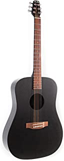 KLOS Black Carbon Fiber Full Size Acoustic Guitar Package (Guitar, Gig Bag, Strap, Capo, and more)