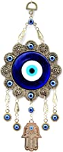 Betterdecor Blue Evil Eye with Hamsa Hand Protection Hanging Ornament (with a Pouch)-006