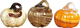 Swirl and Marbled Pumpkin 5 x 4 Inch Transpac Assorted Glass Figurines Set of 3