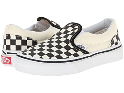 Vans Kids Classic Slip-On (Little Kid/Big Kid) ((Checkerboard) Black/White) Kids Shoes