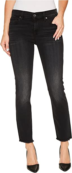 7 For All Mankind - Roxanne Ankle w/ Raw Hem in Aged Onyx