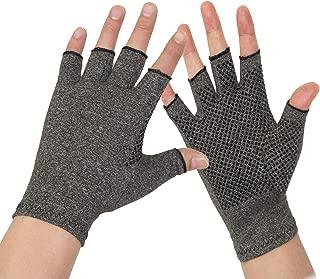 Arthritis Gloves 2 Pairs - Men and Women Fingerless Compression Glove Pain Relief for Rheumatoid Arthritis and Osteoarthritis (S/M)
