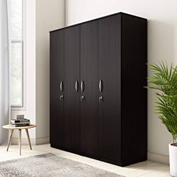 Amazon Brand - Solimo Alpha Engineered Wood 4-Door Wardrobe (Espresso Finish)