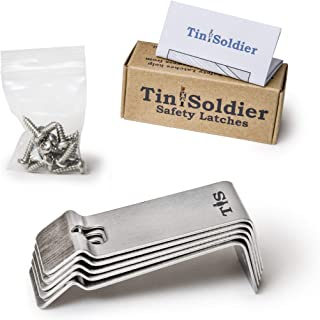 Tin Soldier Metal Cabinet and Drawer Safety Latches childproofing Lock (5-Piece Set)   Heavy-Duty Stainless Steel Design   Business, Kitchen, Bathroom, Garage, RV   Kids, Pets   Includes Hardware