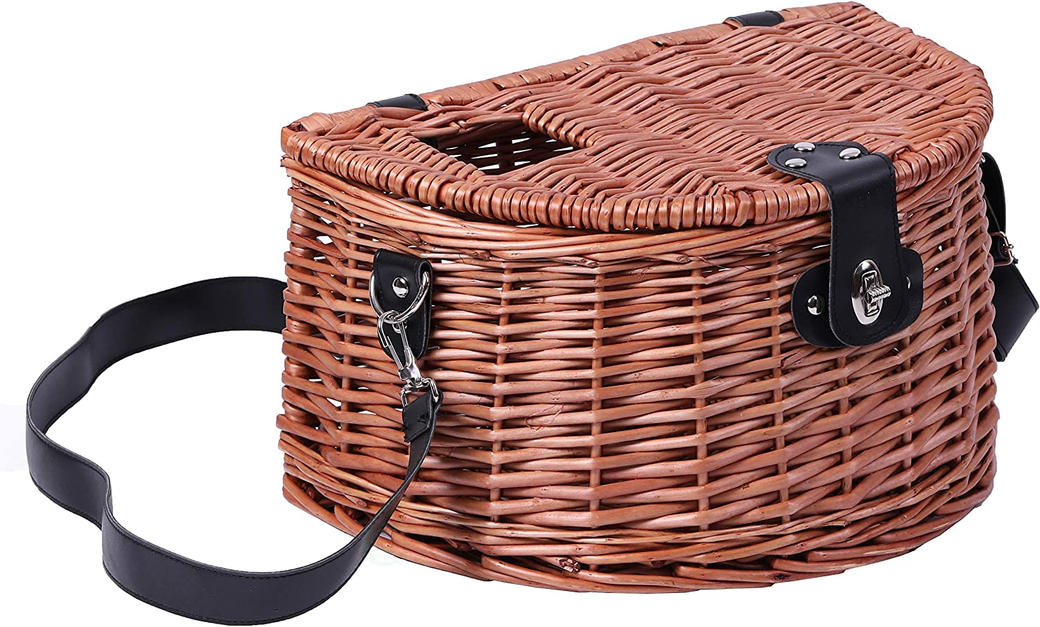 Vintiquewise Wicker Fishing Creel with Faux Leather Shoulder Shoulder Shoulder Strap B07H4Z5KPY  Jugend a3de24