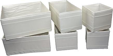 صندوق لتنظيم الادراج من ايكيا، صندوق حفظ الاغراض، باللون الابيض (6 قطع)