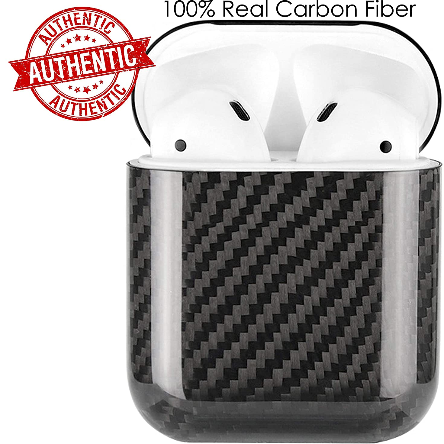 APSkins Real Carbon Fiber Hardshell Case Compatible with Apple AirPods 1 and 2. Comes with APSkins Black Air Pod Skins Wraps (Glossy Black)
