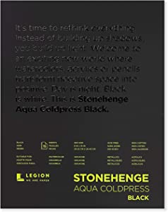 Stonehenge Aqua Black Pad, 140lb, Coldpress, 9 x 12 Inches, 15 Sheets