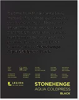 Stonehenge, 1 Legion Aqua Watercolor Pad, 140lb, Cold Press, 8 by 10 Inches, Black Paper, 15 Sheets