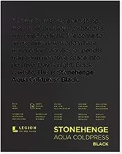 Stonehenge, 1 Legion Aqua Watercolor Pad, 140lb, Cold Press, 9 by 12 Inches, Black Paper, 15 Sheets