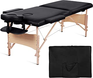 MaxKare Portable Massage Table 84'' With Carrying Bag & Accessories, 2 Fold, Extra Wide, Black (2 fold)