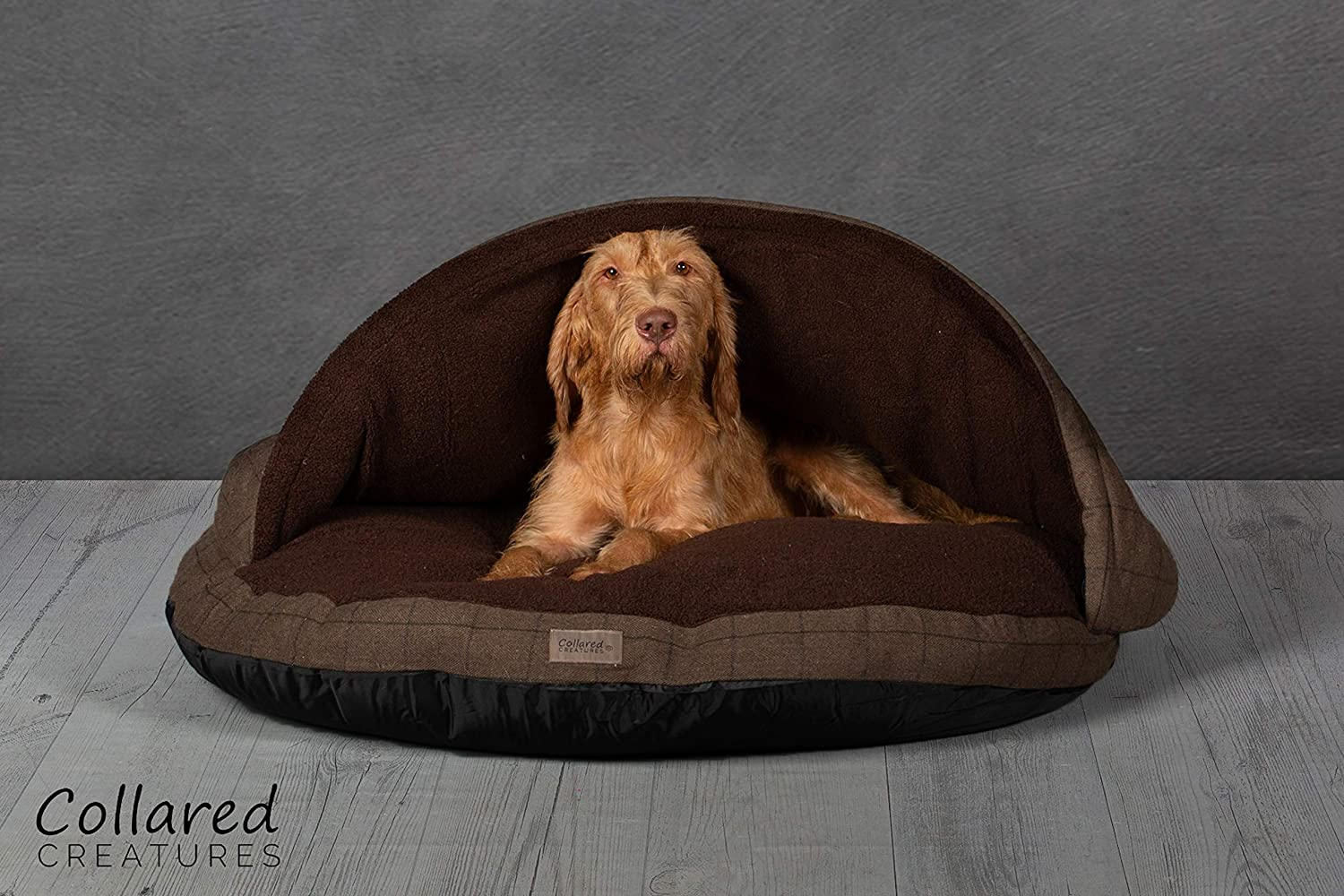 Collared Creatures Dog Cave Bed, Dog Bed, Extra Large 1140mm (45 ) Brown Herringbone