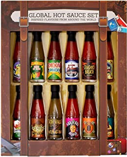 Modern Gourmet Foods, Global Hot Sauce Gift Set, 12 Inspired Hot Sauce Flavours Including Smokin Jamaican, Dragon's Breat...