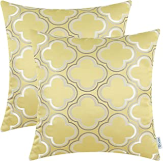 CaliTime Pack of 2 Throw Pillow Covers Cases for Couch Sofa Home Decoration Modern Cute Quatrefoil Chain Geometric 18 X 18 Inches Sand Yellow Gray White