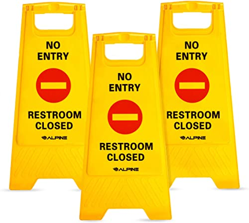 Alpine Industries Two-Sided Fold-Out No Entry - Restroom Closed Signs, 3-Pack - Foldable Indoor and Outdoor Black on ...