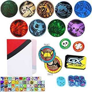 Totem World 10 Official Collectible Plastic TCG Coins Counter Marker & Dice Set with Totem Mini Binder Collectors Album - No Duplicates - Perfect for Pokemon Fan Collectors