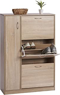 ts-ideen - Zapatero de madera de roble con 3 compartimentos y 1 puerta (120 x 80 cm) color marrón