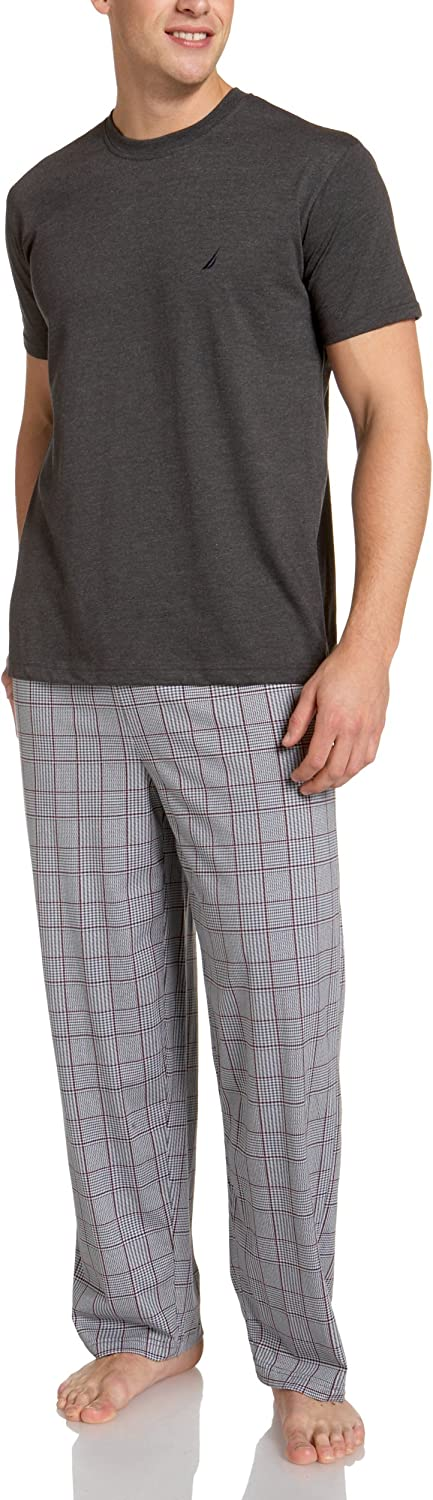 Nautica Men's George Harbor Plaid Pant With Short Sleeve Charcoal Tee Boxed Gift Set