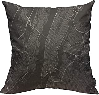 Mugod Throw Pillow Cover Black City with All Streets of New York Surroundings Map White..
