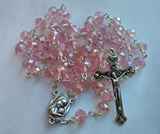 Glass Crystal Beads Rosary with Holy Soil Silver Crucifix (Pink, Red, Green, Purple, Light Blue, Dark Blue, Black, Clear, Gray) (Pink)