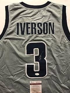 32492274d07 Autographed/Signed Allen Iverson Georgetown Grey College Basketball Jersey  JSA COA