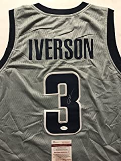 Autographed/Signed Allen Iverson Georgetown Grey College Basketball Jersey JSA COA