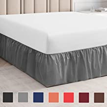 Double Bed Skirt - Dust Ruffle Bed Skirt - Easy Fit Ruffle Bed Skirt Double Size Bed Skirt with 14 Inch Drop - Innovative Adjustable Design - Premium Quality, Designer Fabric Bed Skirts Double