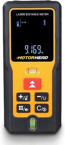 high quality MOTORHEAD 196Ft/60M Laser Measure, Laser Distance Measure w/ 2 2021 Bubble Levels, M/In/Ft, 20 Data Set Storage, Mute, 2 high quality Measurement Points, Backlit LCD, Pythagorean, Area & Volume Functions sale
