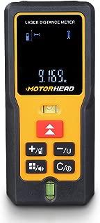 MOTORHEAD 196Ft/60M Laser Measure, Laser Distance Measure w/ 2 Bubble Levels, M/In/Ft, 20 Data Set Storage, Mute, 2 Measurement Points, Backlit LCD, Pythagorean, Area & Volume Functions