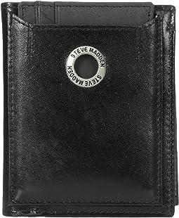 Grommet Glazed Leather L-Fold Wallet
