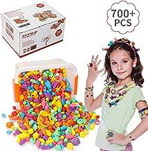 EXTSUD Pop Beads Set 700PCS+ DIY Jewelry Set BPA Free Making Necklace, Bracelet, Hairband and Ring Pop Snap Beads Set Creativity DIY Bead for Kids Girls Toddlers